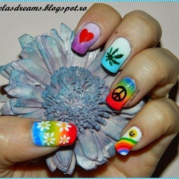 Hippie Nails nail art by Ela's Dreams