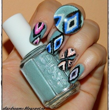 Ikat Nails nail art by Ela's Dreams