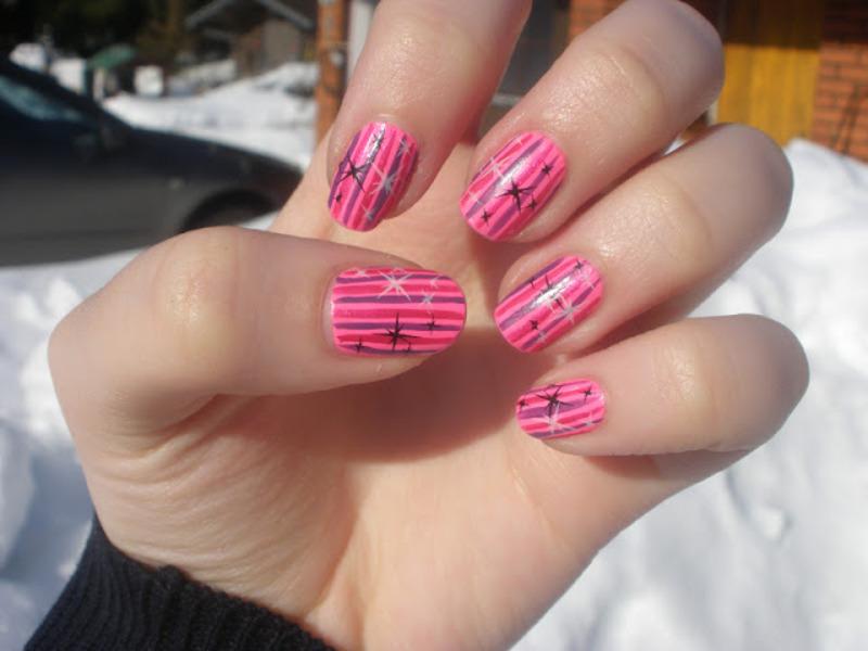 Pink stars nail art by Enni