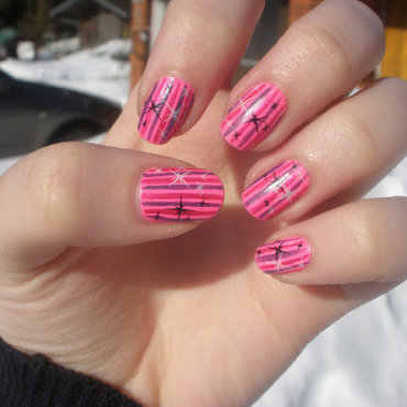 Pink stars nail art by Enni