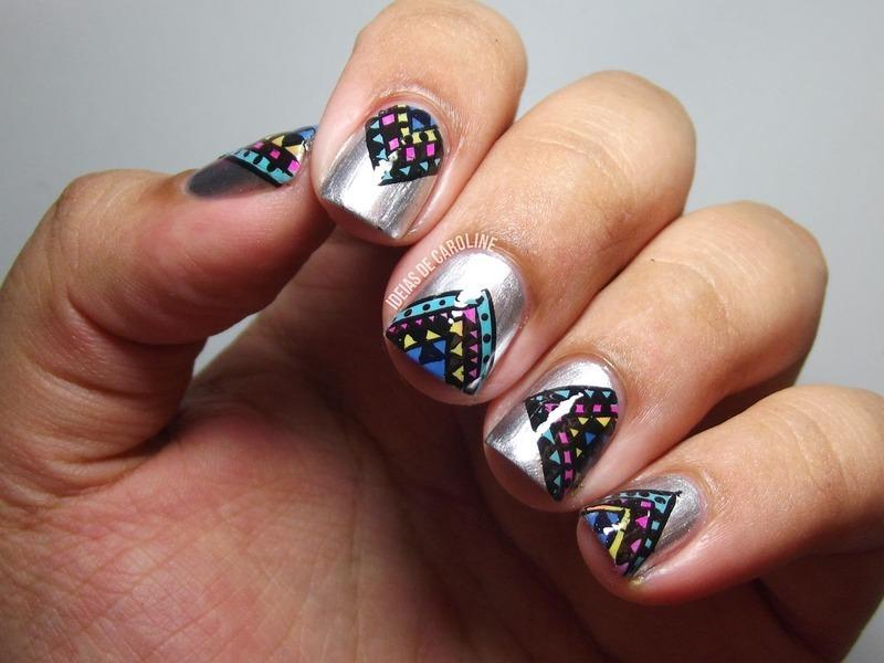Tribal Triangles nail art by Caroline Lopes