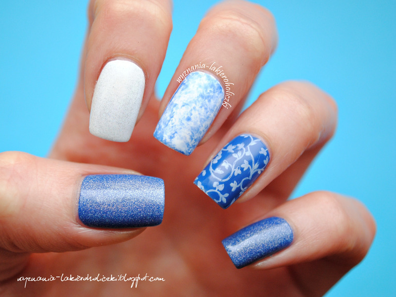 Blue mix nail art by Olaa
