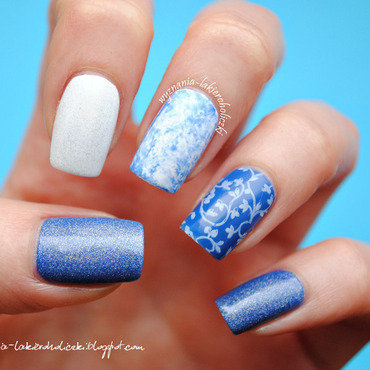 Blue mix nail art by Olaa