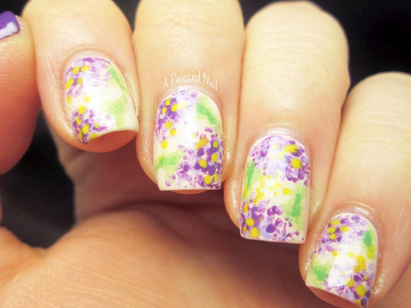 Messy Florals nail art by Bridget Reynolds