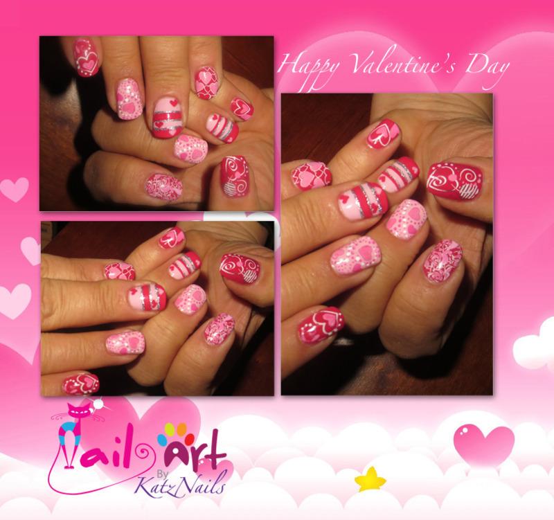 Many Moods of the Valentine nail art by Katz