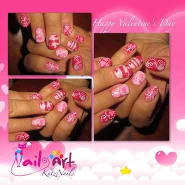 Many Moods of the Valentine nail art by Katz
