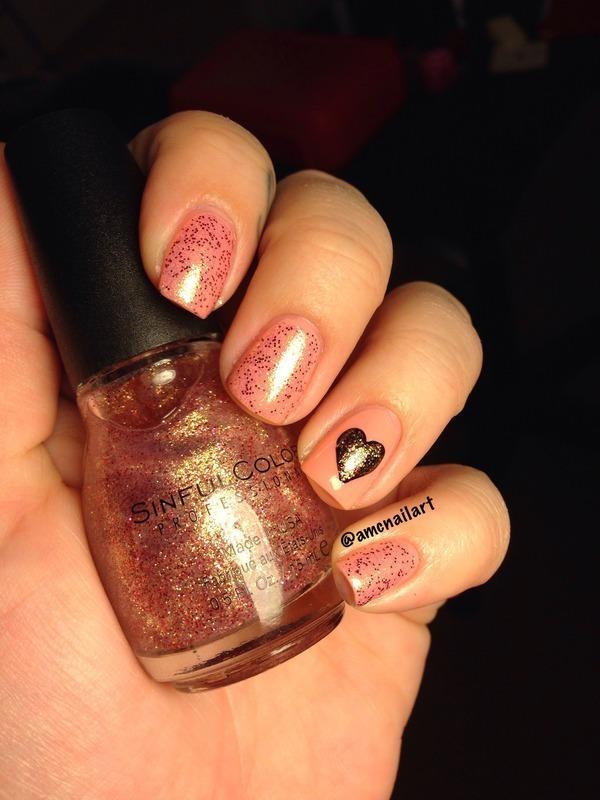 Blackheart nail art by AMC Nail Art