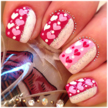 Hearts and Sparkle nail art by Nails_In_Style