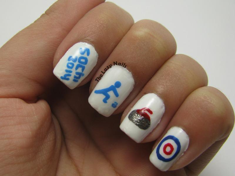 Winter Olympics- Curling nails nail art by Hadas Drukker