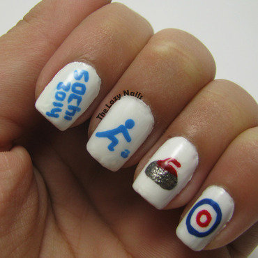 Winter Olympics- Curling nails nail art by Hadas Drukker