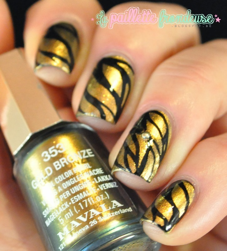 wild gold nail art by nathalie lapaillettefrondeuse