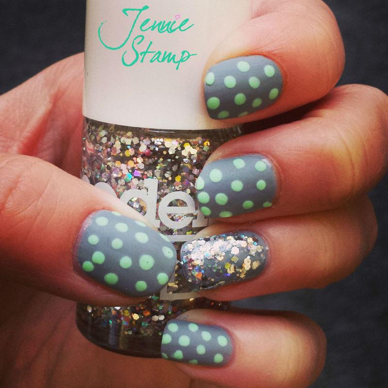 Matt Mint Dots & Models Own Glitter nail art by Jennie Stamp