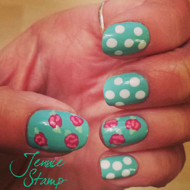 Vintage floral nail art nail art by Jennie Stamp