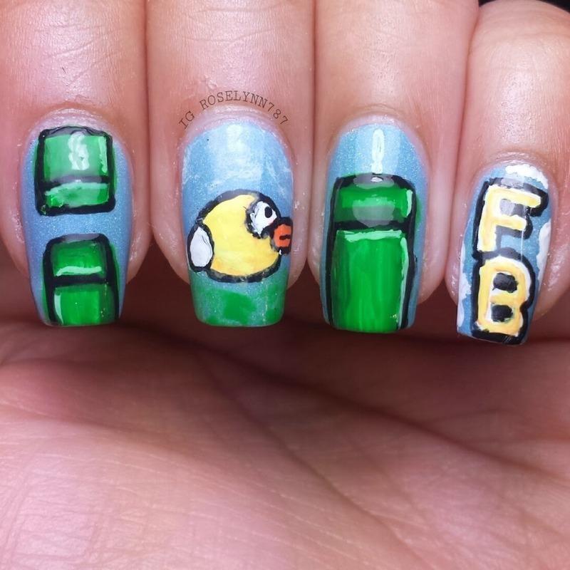 Flappy Bird Nailart nail art by Rose Mercedes
