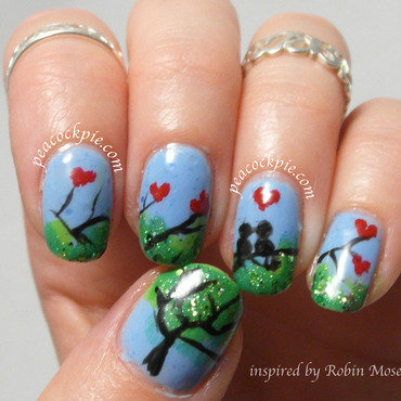 Love Birds inspired by Robin Moses nail art by Serra Clark