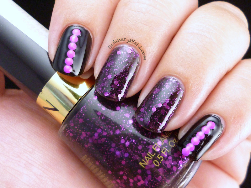 Studded Facets nail art by Michelle