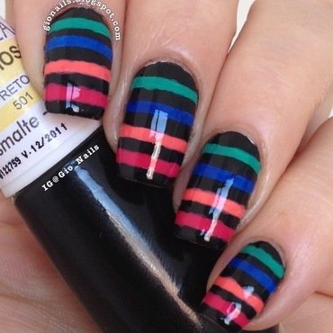 Colourful Stripes nail art by Giovanna - GioNails