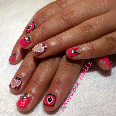 Valentine Negative space Nails nail art by Raquelle