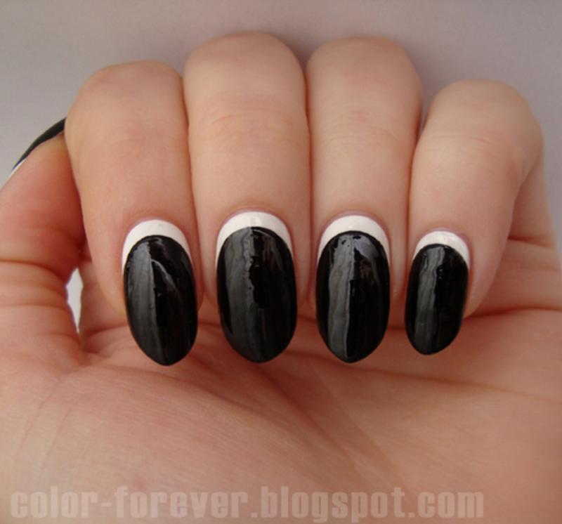 black & white ruffian manicure nail art by ania