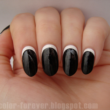 black & white ruffian manicure nail art by ania