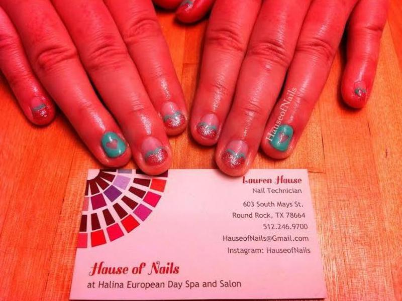Hearts and negative space nail art by Hause of Nails