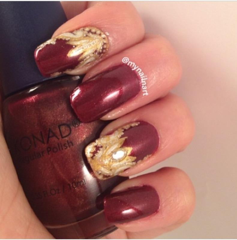 royal red  nail art by mynailnart