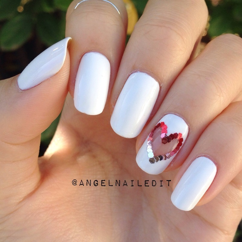 Cut out ombré glitter heart nail art by Angel Son