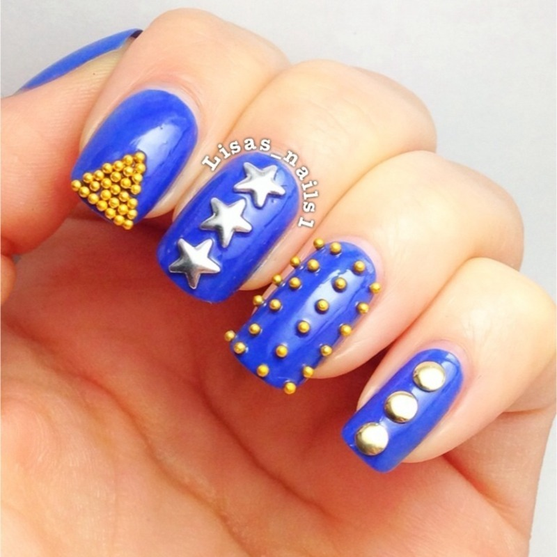 Stud nails nail art by Lisa