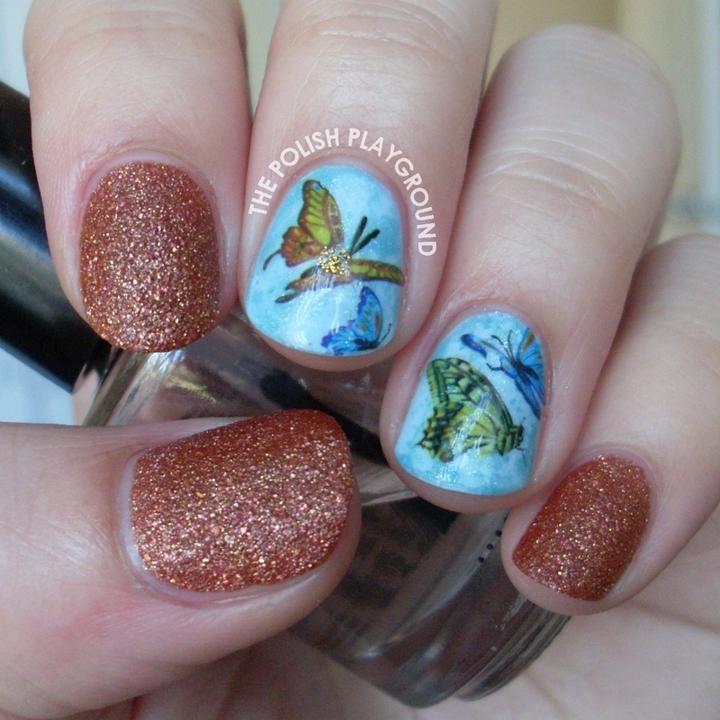 Vibrant Butterfly Water Nail Decals nail art by Lisa N