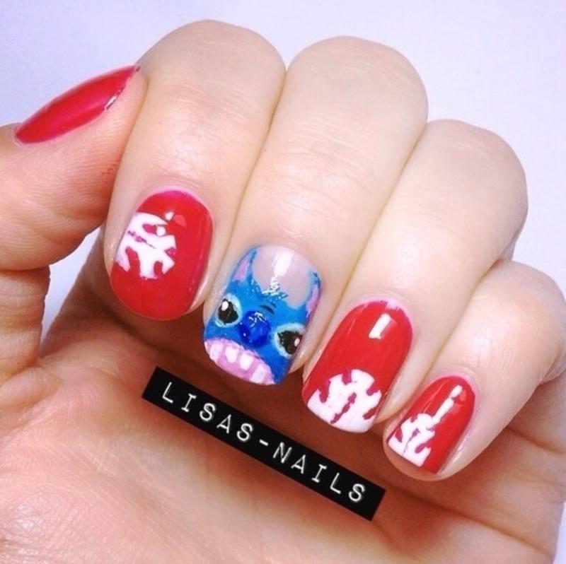 Stitch  nail art by Lisa