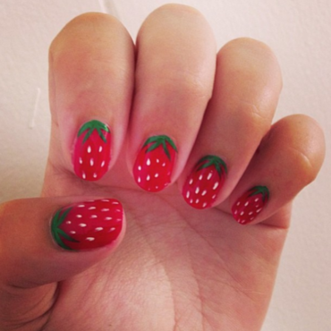 Strawberry Nails nail art by Claire