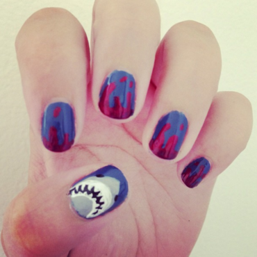 Shark Attack Nails nail art by Claire