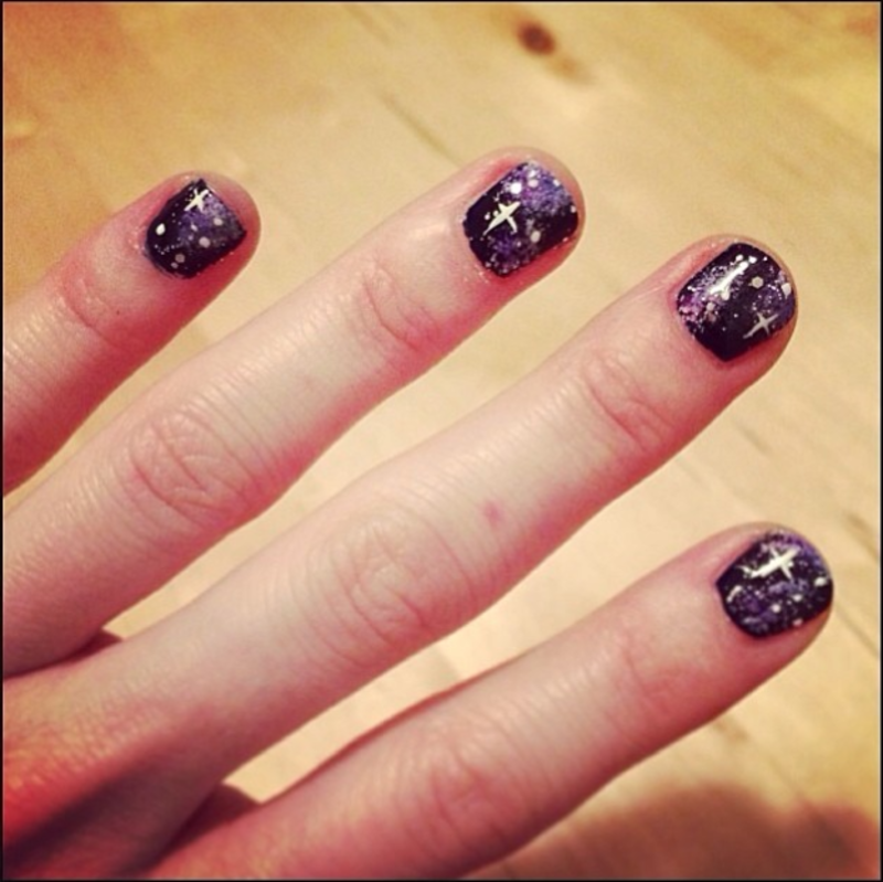 Galaxy Nails nail art by Claire