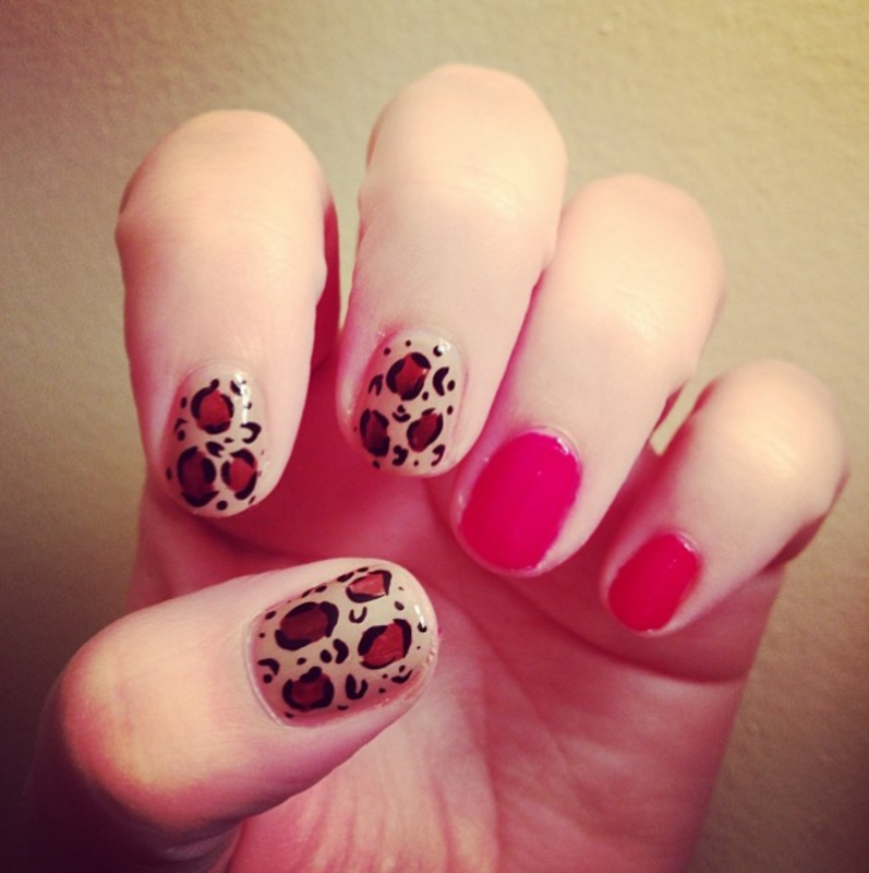 Red Leopard Nails nail art by Claire