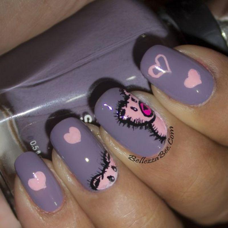 Pink Teddy nail art by Naomi Hing