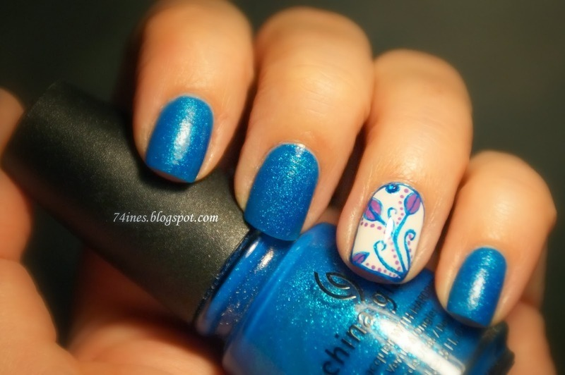 blue theme nail art by 74ines