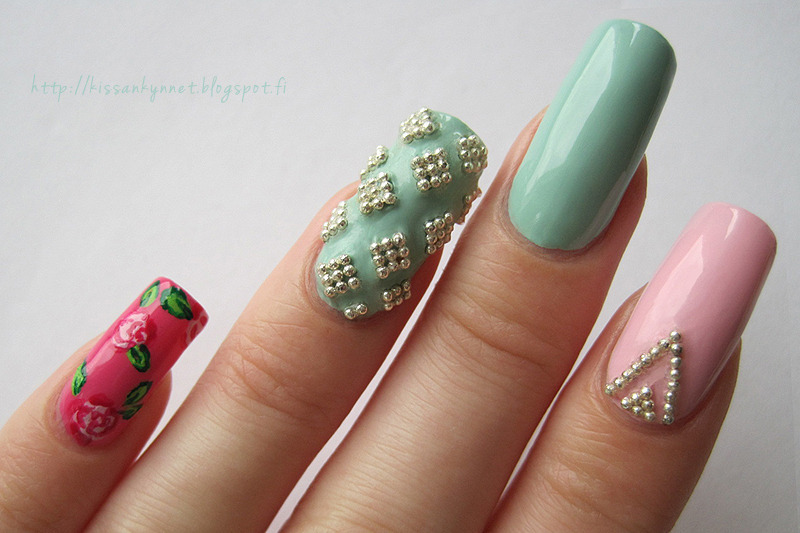 Microbead squares nail art by Yue