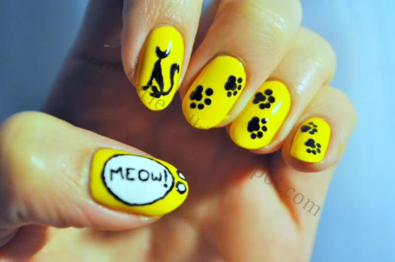 Kitty nails nail art by Carolina