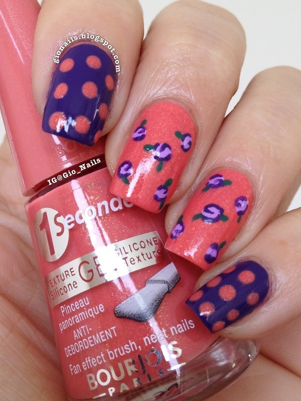 Flowers and Dots nail art by Giovanna - GioNails