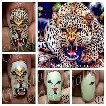 Fierce Kitty nail art by Celestial Nails