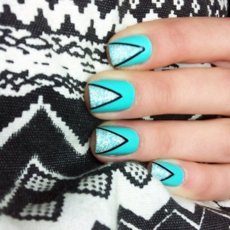 Turquoise nail art by Nails Ink
