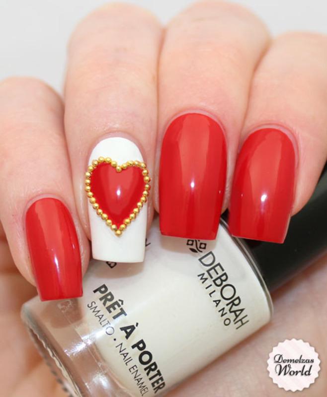 Studded Valentine! nail art by DemelzasWorld