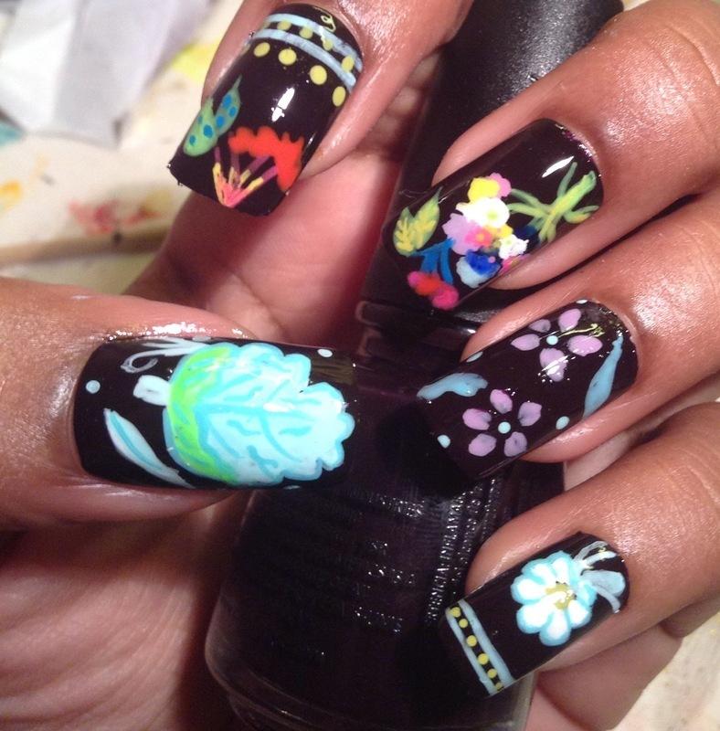 fun floral nail art by Pop'n Nails