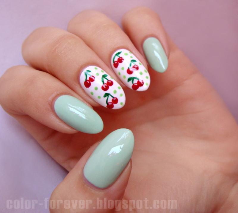cherries & mint nail art by ania