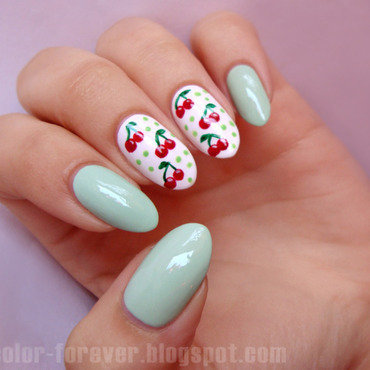 cherries & mint nail art by ania