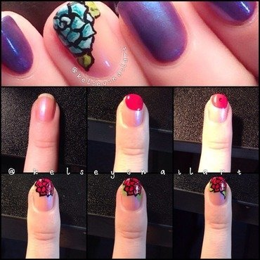 Rose Nail Art Tutorial  nail art by Kelsey