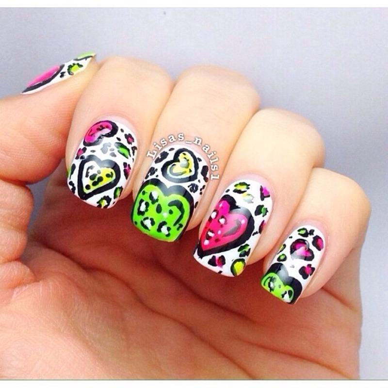 Leopard neon hearts  nail art by Lisa