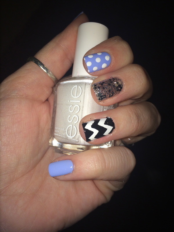 Chevrons & Polka Dots nail art by Krystal Sprouse