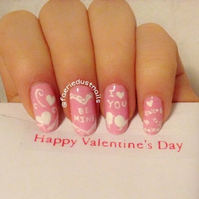 Pink Valentine's Day Nails nail art by Shirley X.