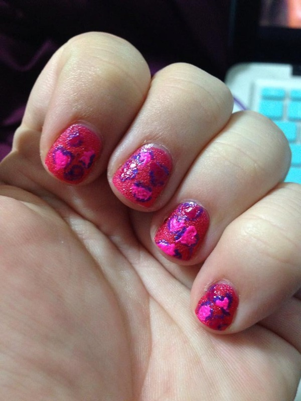 Valentine Cheetah Says I Love You!  nail art by Katie